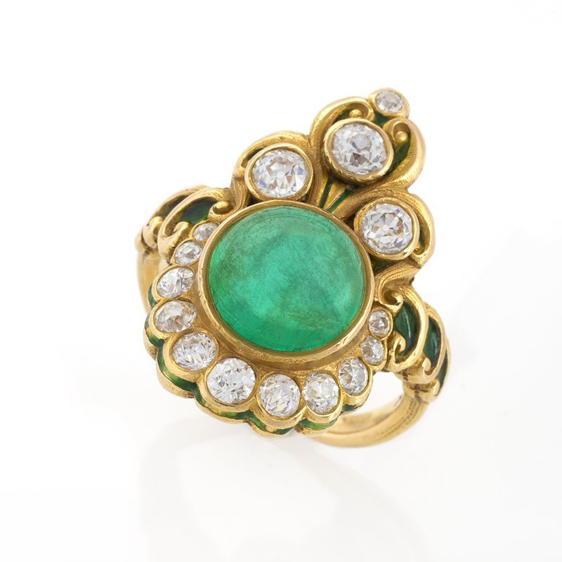 American Art Nouveau Emerald, Gold, Diamonds and Enamel Ring by Marcus & Co
