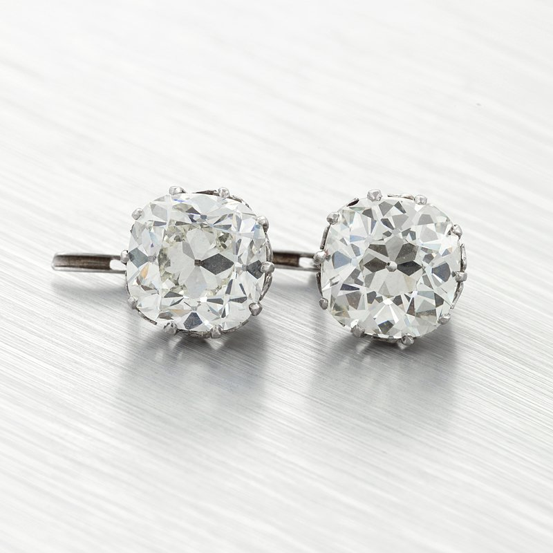 Antique Mine Cut Diamond and Platinum Earrings