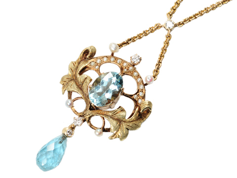 Art Nouveau Aquamarine & Pearl Necklace, circa 1900