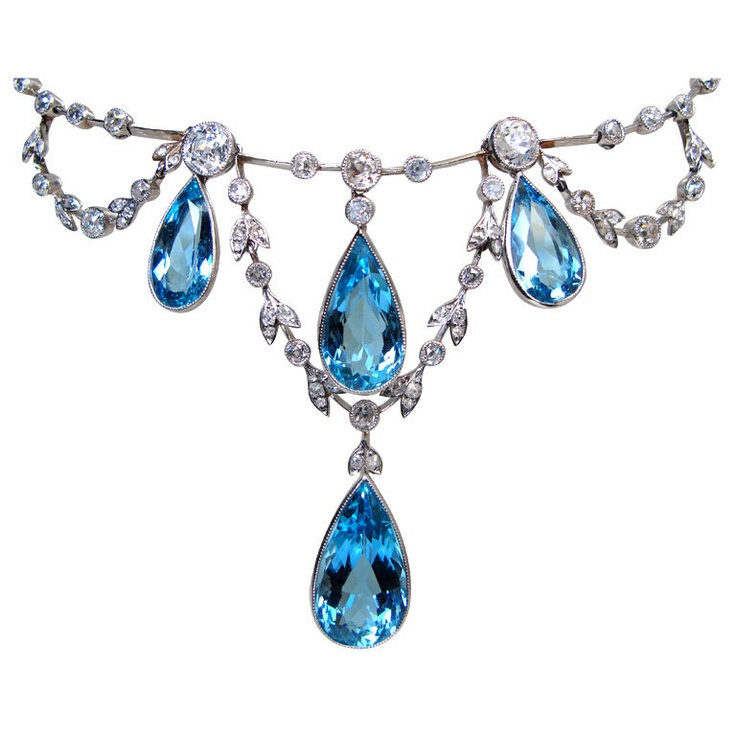 Edwardian Aquamarine Negligee Necklace, ca. 1910