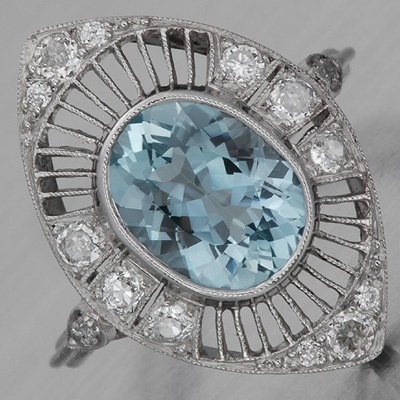 Edwardian aquamarine ring