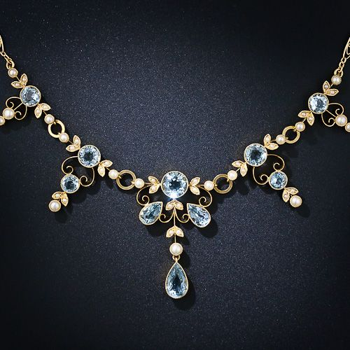 Antique Edwardian Aquamarine Necklace