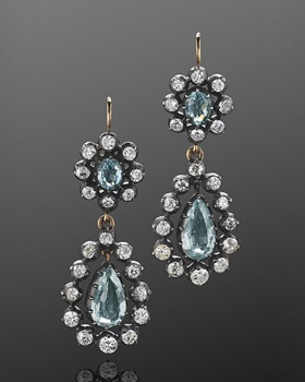 Antique Diamond and Aquamarine Pendant Earrings, circa 1890