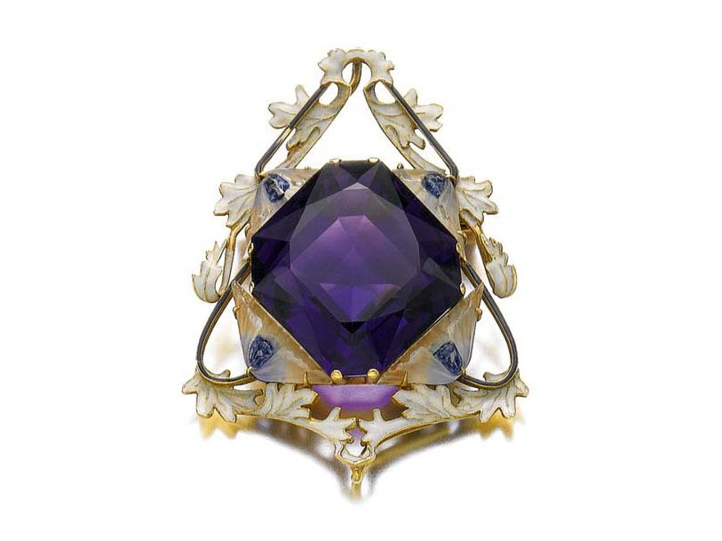 GOLD, ENAMEL, GLASS AND AMETHYST BROOCH/PENDANT, RENÉ LALIQUE, 1900S