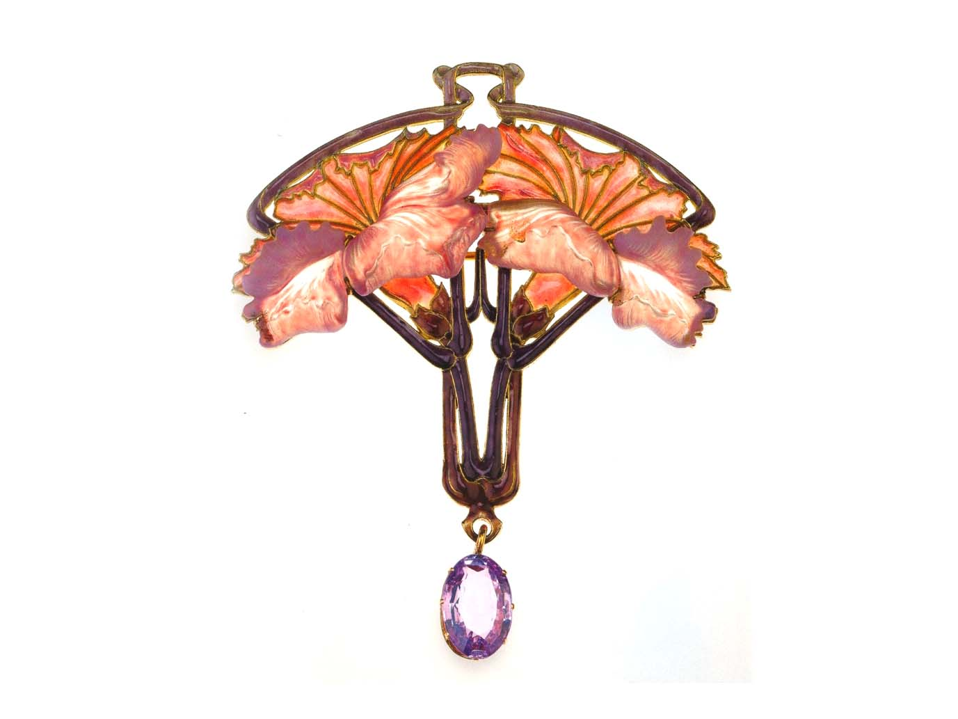 Pink Carnation Enamel Brooch by Rene Lalique