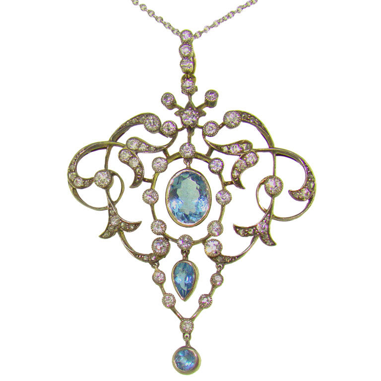 Platinum 18K Yellow Gold, Aquamarine & Diamond Victorian Pendant