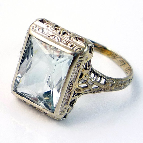 14K Antique Art Deco Aquamarine Filigree Ring Jewelry
