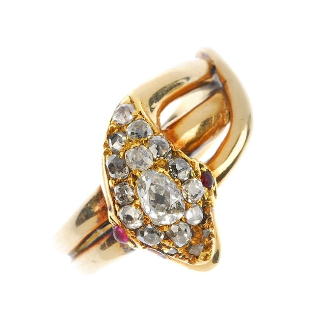 A late 19th century 15ct gold diamond snake ring, circa 1870.