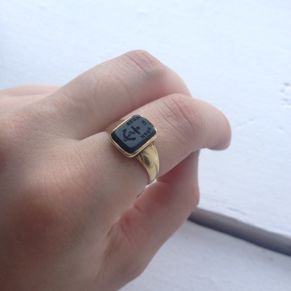 Bloodstone Intaglio Ring