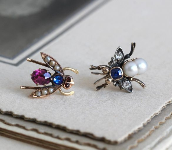 Antique Insect Stud Earrings, Victorian