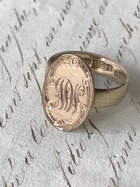 Antique Rose Gold Signet Ring