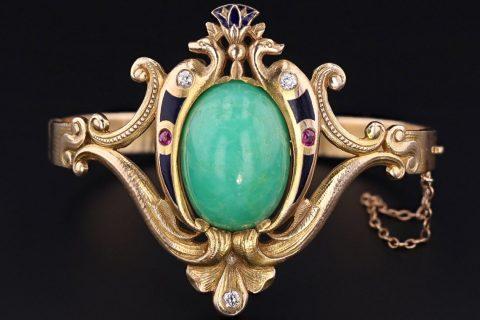 Antique Chrysoprase Bracelet | Egyptian Revival Bracelet | 14k Gold Bangle Bracelet with Enamel Diamond and Ruby Accents