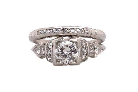 Art Deco .40ct. Diamond Antique Wedding Ring Set