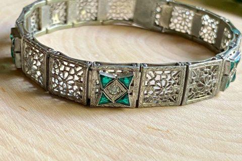 "Art Deco Emerald Paste A&Z Filigree Bracelet 7.25"""