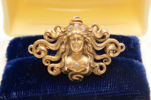 Art Nouveau 14k Gold and Diamond Medusa Brooch; Antique Brooch