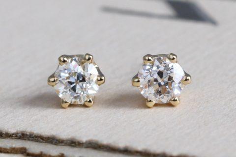 Old Mine Cut Diamond Stud Earrings, 14k Antique OMC, .68 ctw Appraisal Included