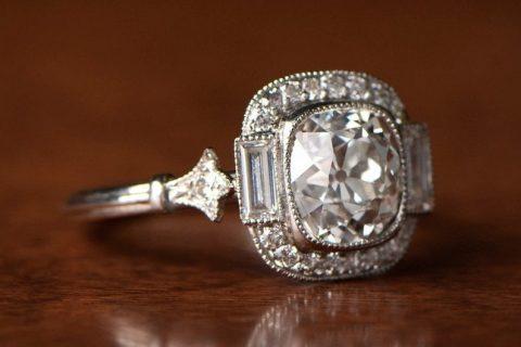 antique diamond in a modern setting