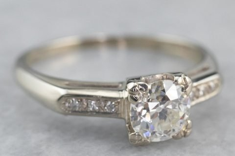Retro Era European Cut Diamond Ring, Vintage Diamond Engagement Ring, Classic Engagement Ring, White Gold Diamond Ring