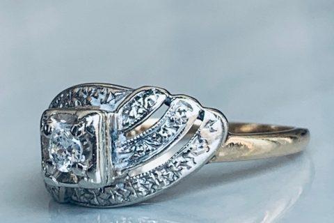 Art Deco Antique Vintage Engagement Ring 14k Old European Cut Diamond Gold Orange Blossom Diamond Ring Antique Diamond Anniversary