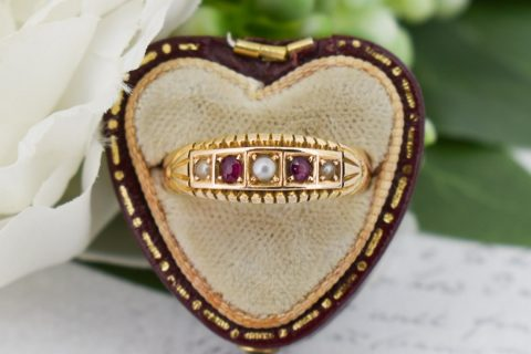 Antique Victorian Ruby and Pearl 15K 15ct Gold Gypsy Band Ring - Birmingham 1896