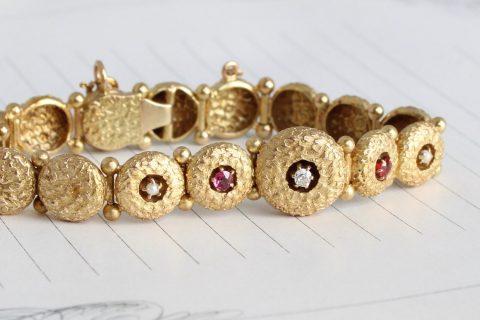 Victorian 14k Diamond Ruby & Pearl Bracelet, Antique Button Link Style