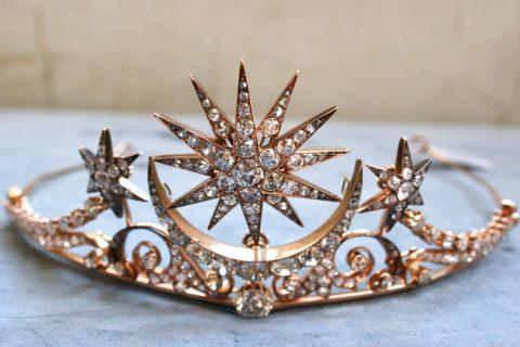 Victorian Era Antique Diamond and Rose Gold Tiara.